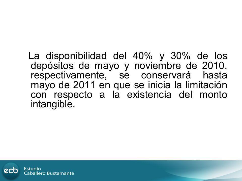 La disponibilidad del 40% y 30% de los depósitos de mayo y noviembre de 2010, respectivamente, se conservará hasta mayo de 2011 en que se inicia la li
