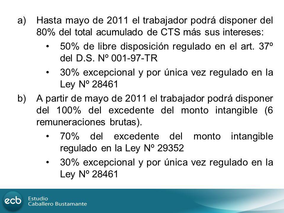a)Hasta mayo de 2011 el trabajador podrá disponer del 80% del total acumulado de CTS más sus intereses: 50% de libre disposición regulado en el art. 3