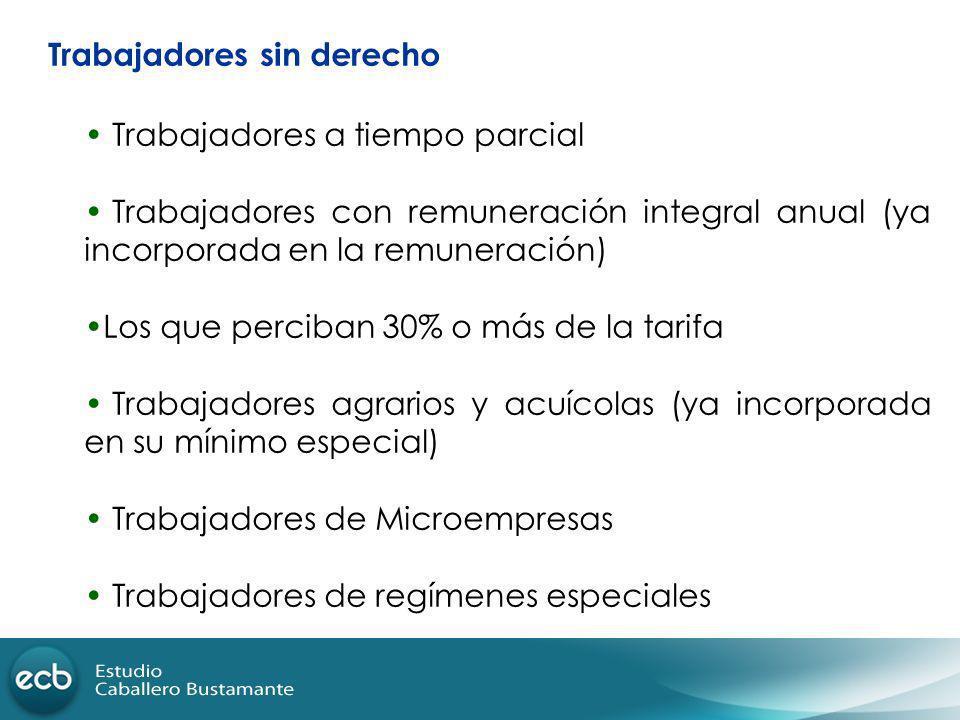 Trabajadores sin derecho Trabajadores a tiempo parcial Trabajadores con remuneración integral anual (ya incorporada en la remuneración) Los que percib