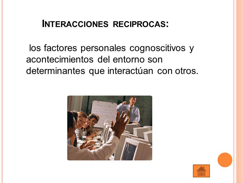 los factores personales cognoscitivos y acontecimientos del entorno son determinantes que interactúan con otros. I NTERACCIONES RECIPROCAS :