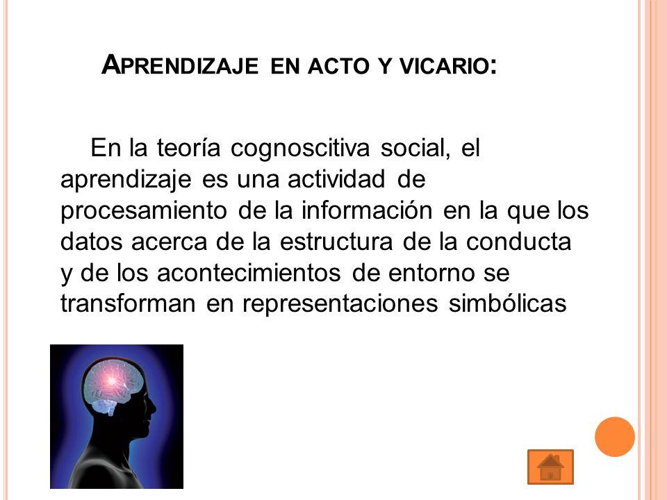 A PRENDIZAJE EN ACTO Y VICARIO : En la teoría cognoscitiva social, el aprendizaje es una actividad de procesamiento de la información en la que los da