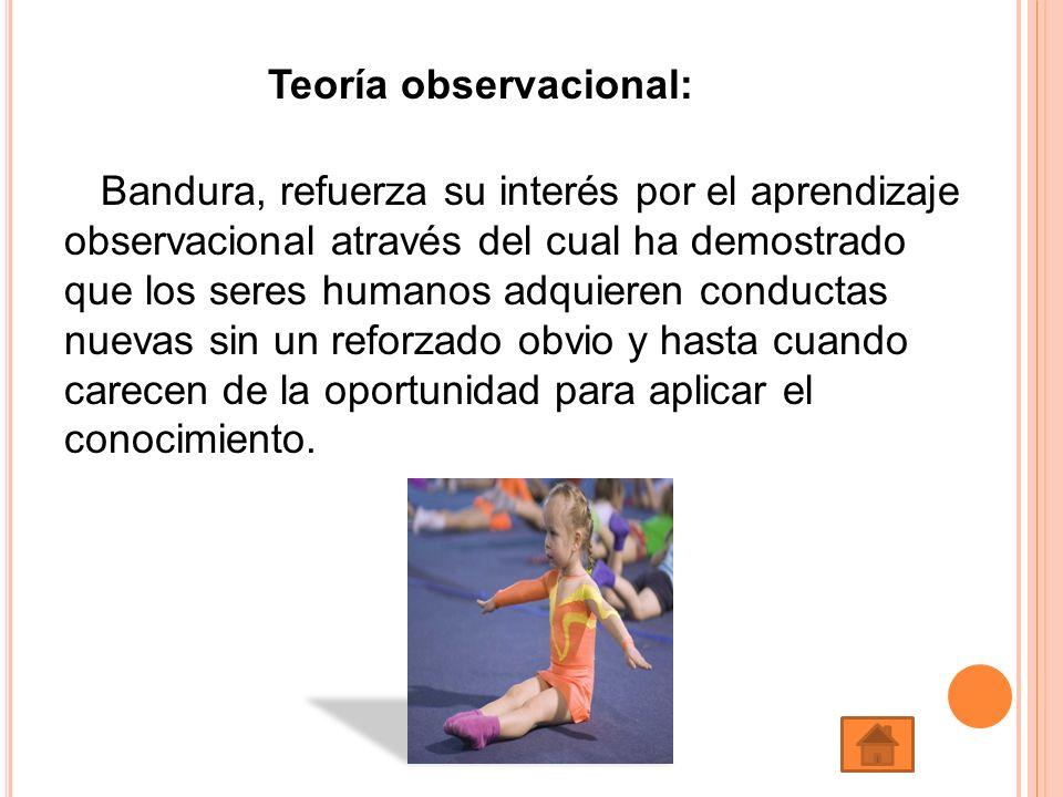 Teoría observacional: Bandura, refuerza su interés por el aprendizaje observacional através del cual ha demostrado que los seres humanos adquieren con