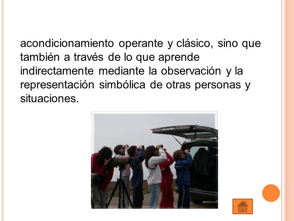acondicionamiento operante y clásico, sino que también a través de lo que aprende indirectamente mediante la observación y la representación simbólica
