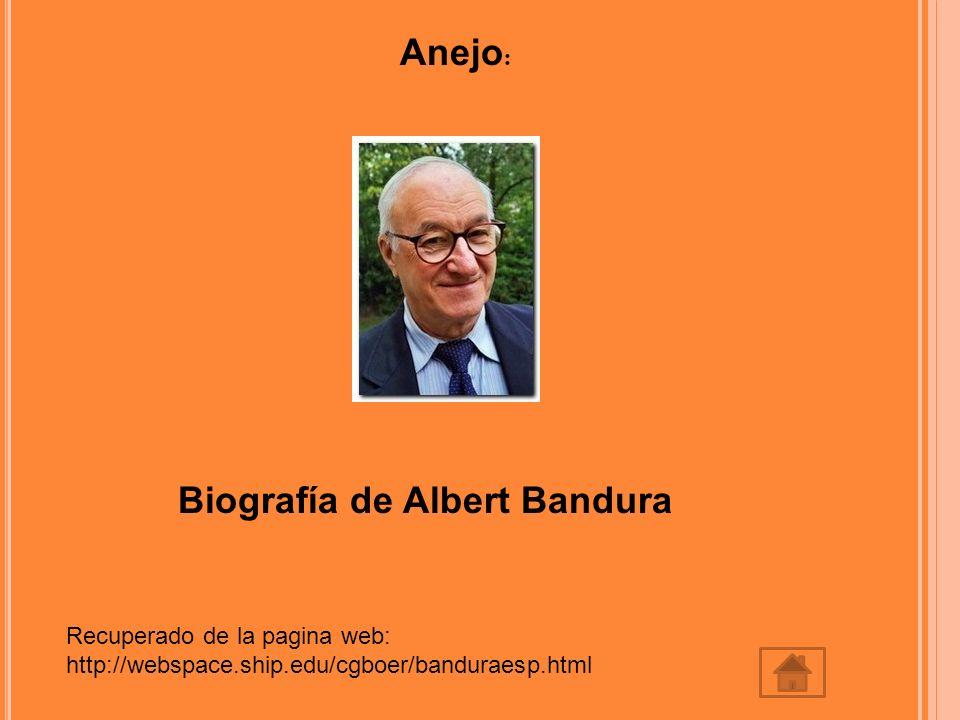 Anejo : Biografía de Albert Bandura Recuperado de la pagina web: http://webspace.ship.edu/cgboer/banduraesp.html