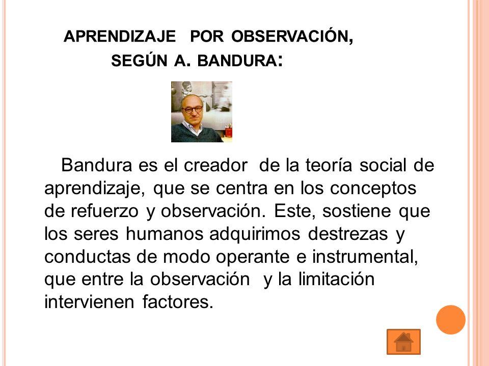 APRENDIZAJE POR OBSERVACIÓN, SEGÚN A. BANDURA : Bandura es el creador de la teoría social de aprendizaje, que se centra en los conceptos de refuerzo y