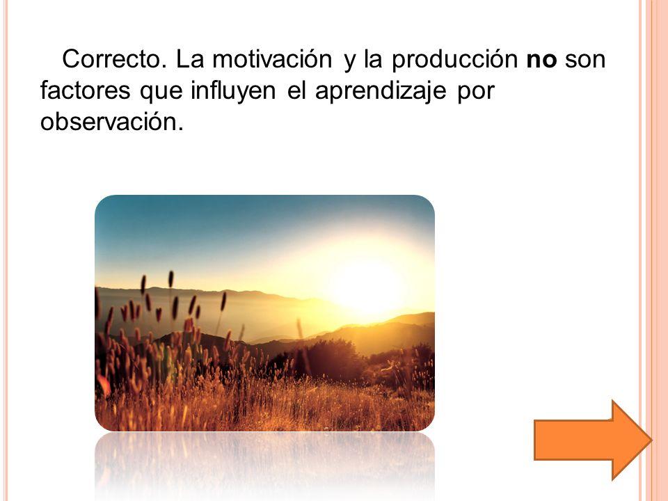 Correcto. La motivación y la producción no son factores que influyen el aprendizaje por observación.