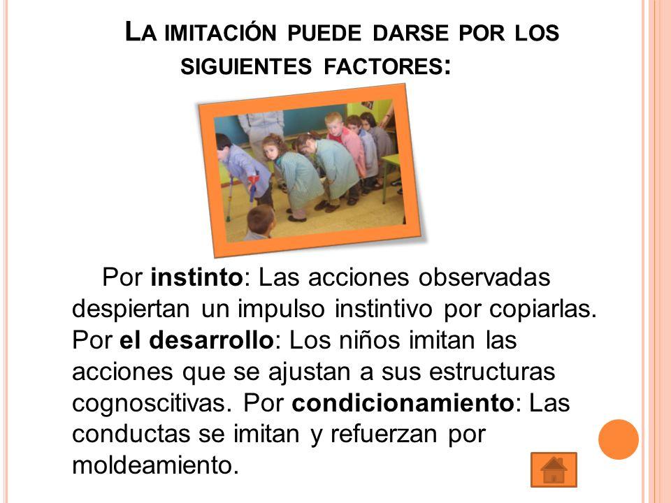 L A IMITACIÓN PUEDE DARSE POR LOS SIGUIENTES FACTORES : Por instinto: Las acciones observadas despiertan un impulso instintivo por copiarlas. Por el d
