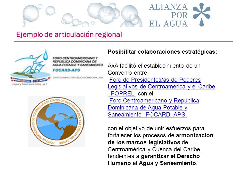 Ejemplo de articulación regional Posibilitar colaboraciones estratégicas: AxA facilitó el establecimiento de un Convenio entre Foro de Presidentes/as