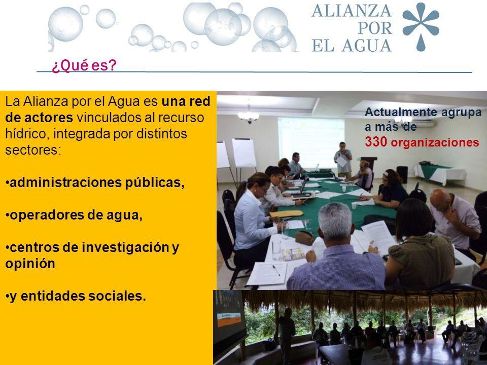 Actualmente agrupa a más de 330 organizaciones ¿Qué es? La Alianza por el Agua es una red de actores vinculados al recurso hídrico, integrada por dist