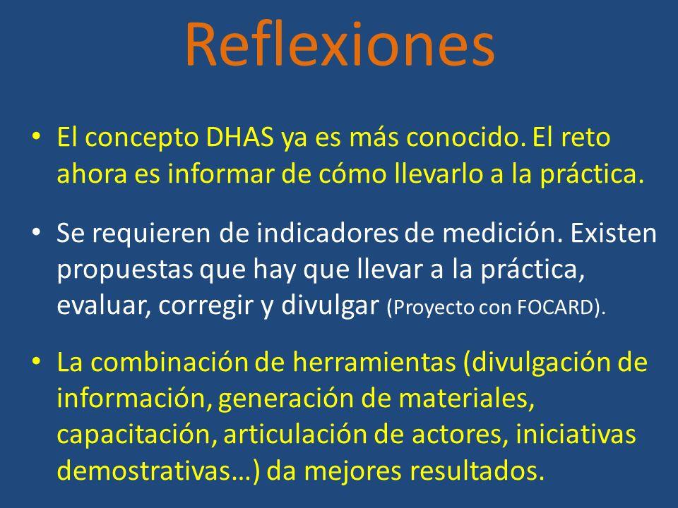 Reflexiones El concepto DHAS ya es más conocido. El reto ahora es informar de cómo llevarlo a la práctica. Se requieren de indicadores de medición. Ex