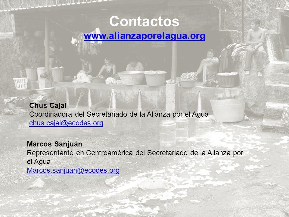 Chus Cajal Coordinadora del Secretariado de la Alianza por el Agua chus.cajal@ecodes.org Marcos Sanjuán Representante en Centroamérica del Secretariad