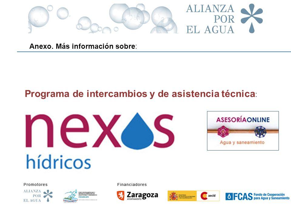 www.nexoshidricos.org Programa de intercambios y de asistencia técnica : Anexo. Más información sobre: