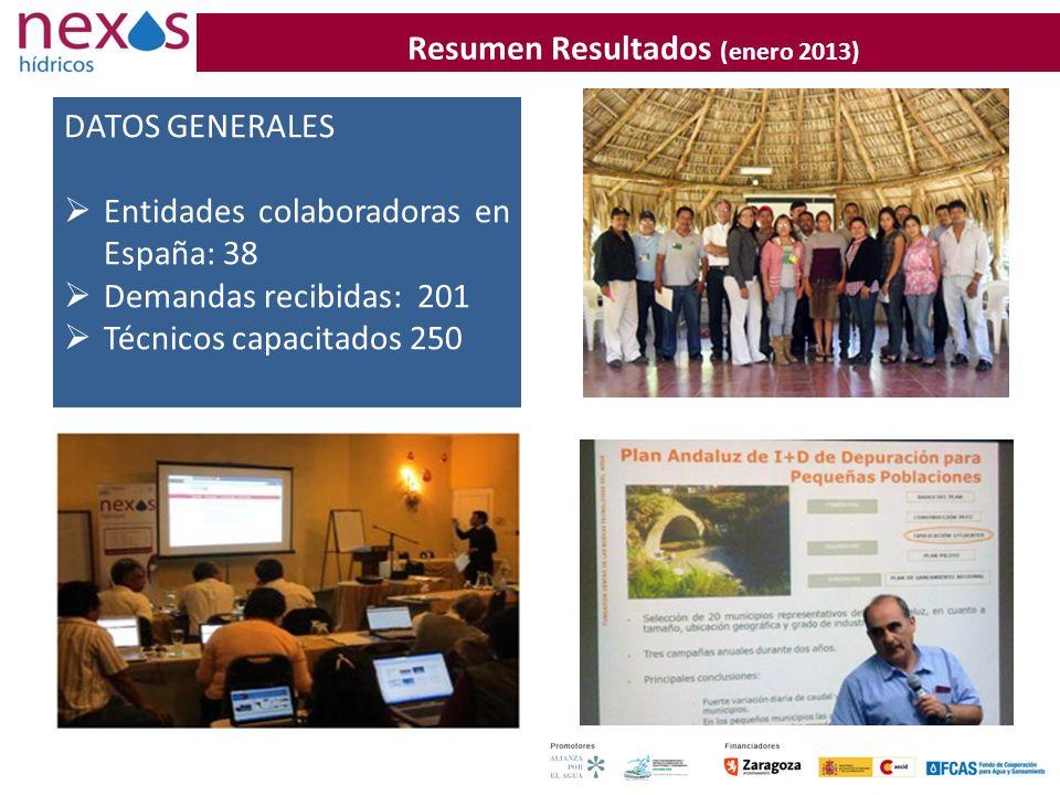 Resumen Resultados (enero 2013) DATOS GENERALES Entidades colaboradoras en España: 38 Demandas recibidas: 201 Técnicos capacitados 250