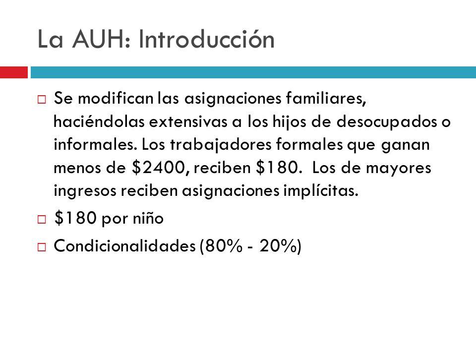 La AUH: Introducción Se modifican las asignaciones familiares, haciéndolas extensivas a los hijos de desocupados o informales. Los trabajadores formal