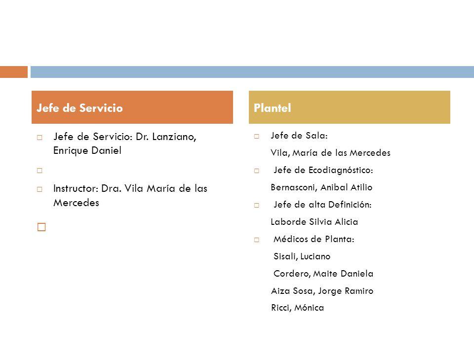 Jefe de Servicio: Dr. Lanziano, Enrique Daniel Instructor: Dra. Vila María de las Mercedes Jefe de Sala: Vila, María de las Mercedes Jefe de Ecodiagnó