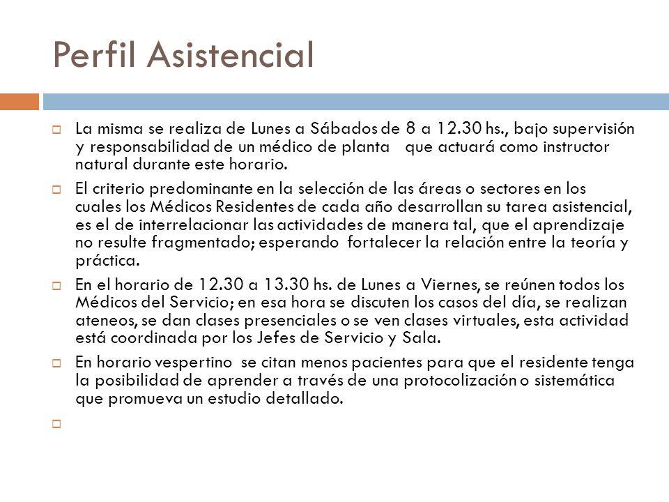 Perfil Asistencial La misma se realiza de Lunes a Sábados de 8 a 12.30 hs., bajo supervisión y responsabilidad de un médico de planta que actuará como
