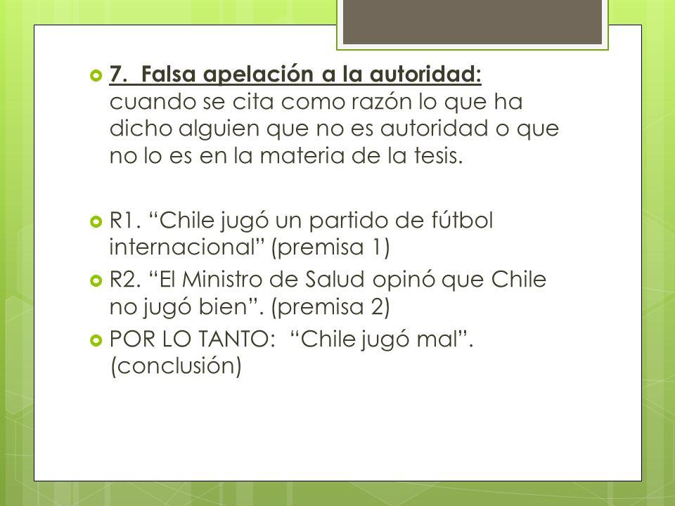7. Falsa apelación a la autoridad: cuando se cita como razón lo que ha dicho alguien que no es autoridad o que no lo es en la materia de la tesis. R1.
