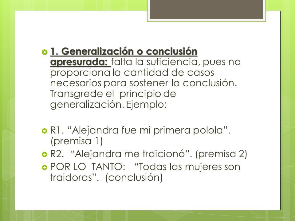 1. Generalización o conclusión apresurada: 1. Generalización o conclusión apresurada: falta la suficiencia, pues no proporciona la cantidad de casos n