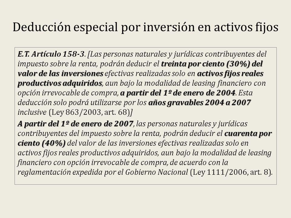 Deducción especial por inversión en activos fijos treinta por ciento (30%) del valor de las inversiones activos fijos reales productivos adquiridos a partir del 1º de enero de 2004 años gravables 2004 a 2007 E.T.