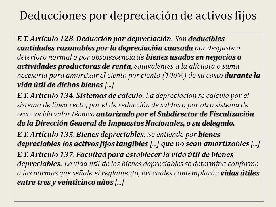 Deducciones por depreciación de activos fijos deducibles cantidades razonables por la depreciación causada bienes usados en negocios o actividades productoras de renta, durante la vida útil de dichos bienes E.T.
