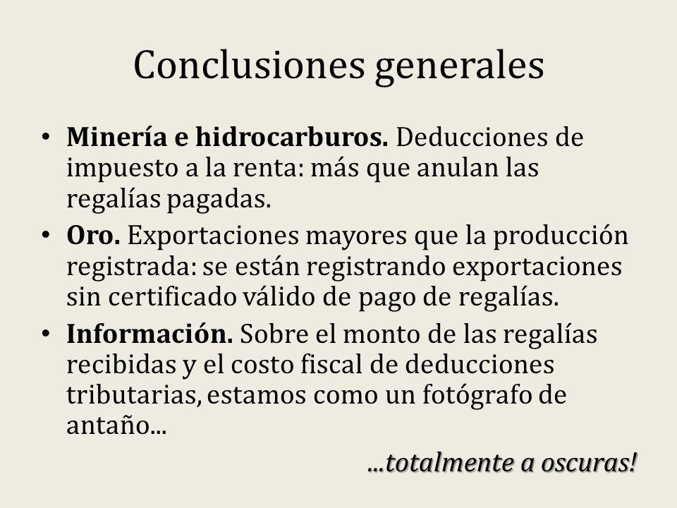 Conclusiones generales Minería e hidrocarburos.
