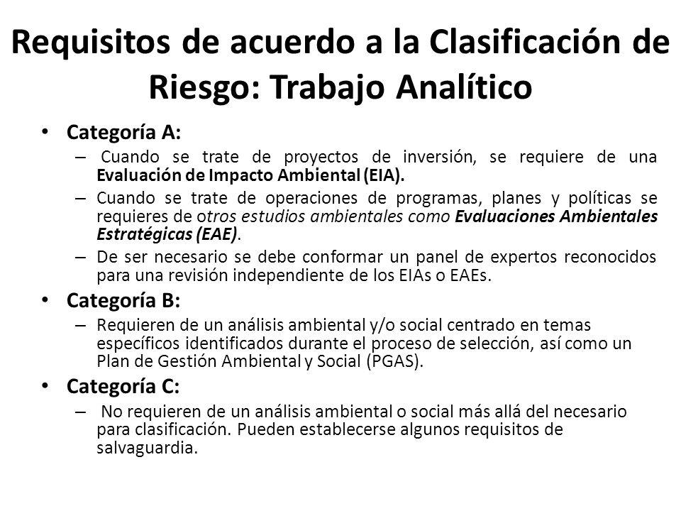Requisitos de acuerdo a la Clasificación de Riesgo: Trabajo Analítico Categoría A: – Cuando se trate de proyectos de inversión, se requiere de una Eva