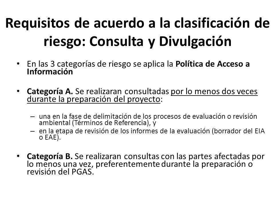 Requisitos de acuerdo a la clasificación de riesgo: Consulta y Divulgación En las 3 categorías de riesgo se aplica la Política de Acceso a Información