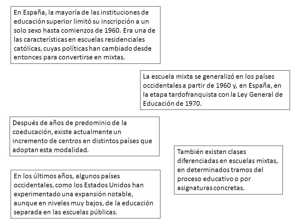 En España, la mayoría de las instituciones de educación superior limitó su inscripción a un solo sexo hasta comienzos de 1960. Era una de las caracter