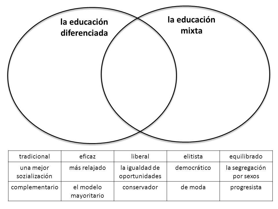 la educación mixta la educación diferenciada tradicionaleficazliberalelitistaequilibrado una mejor sozialización más relajadola igualdad de oportunida