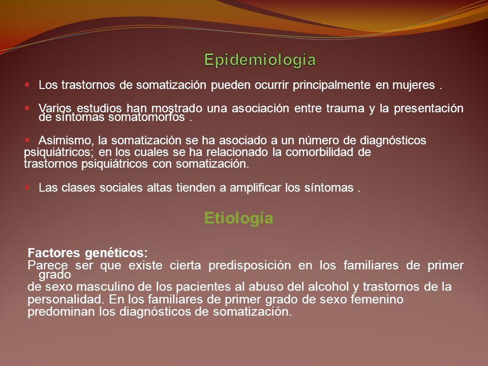 Una historia de síntomas somáticos antes de la edad de 30 años; Dolor en por lo menos cuatro diferentes partes del cuerpo; Dos problemas gastrointesti
