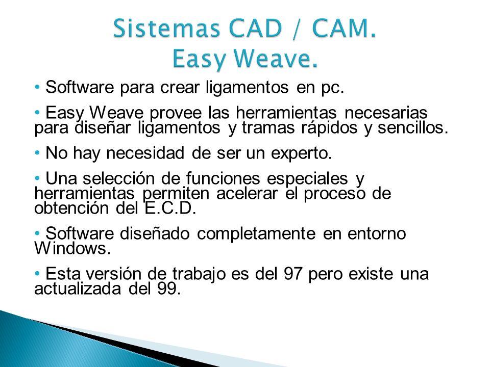Entre los sistemas CAD mencionados anteriormente veremos algunos de ellos: Easy Weave Penelope
