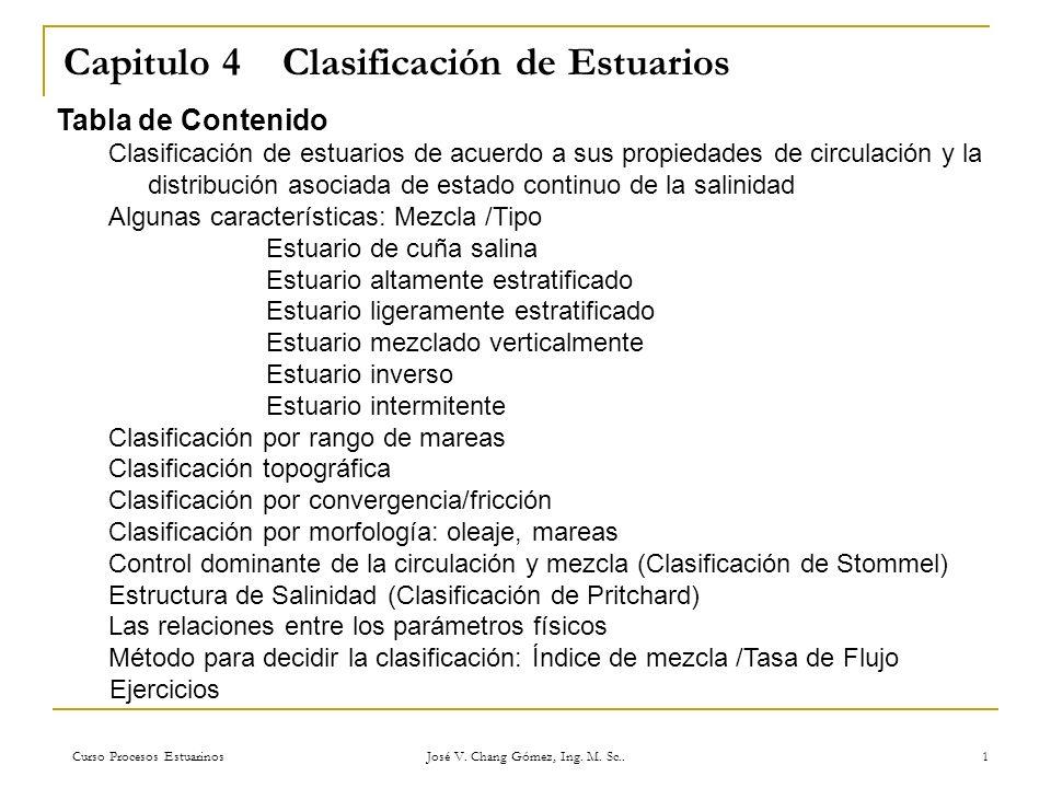 Curso Procesos Estuarinos José V. Chang Gómez, Ing. M. Sc.. 1 Capitulo 4 Clasificación de Estuarios Tabla de Contenido Clasificación de estuarios de a