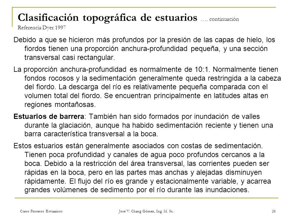 Curso Procesos Estuarinos José V. Chang Gómez, Ing. M. Sc.. 26 Clasificación topográfica de estuarios …. continuación Referencia Dyer 1997 Debido a qu