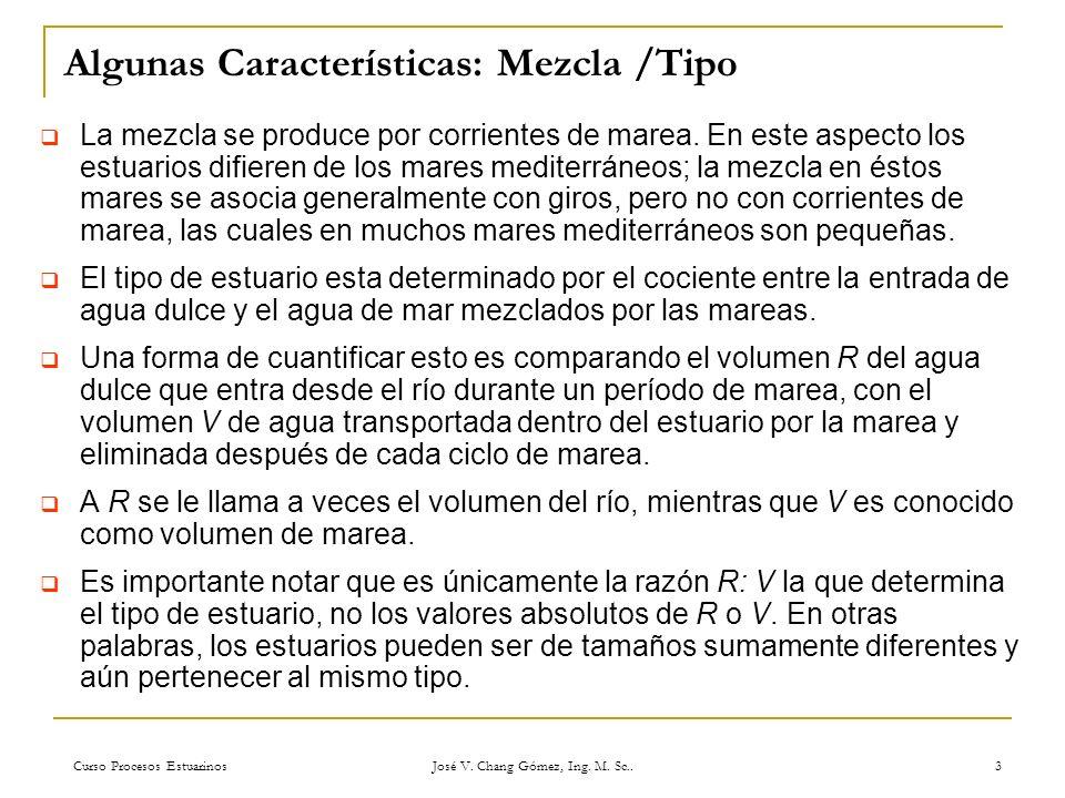 Curso Procesos Estuarinos José V. Chang Gómez, Ing. M. Sc.. 3 Algunas Características: Mezcla /Tipo La mezcla se produce por corrientes de marea. En e