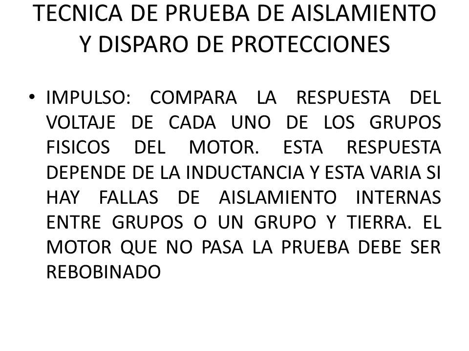 TECNICA DE PRUEBA DE AISLAMIENTO Y DISPARO DE PROTECCIONES IMPULSO: COMPARA LA RESPUESTA DEL VOLTAJE DE CADA UNO DE LOS GRUPOS FISICOS DEL MOTOR.