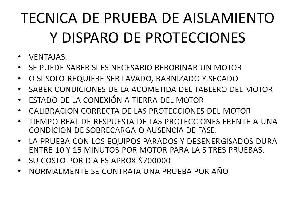 TECNICA DE PRUEBA DE AISLAMIENTO Y DISPARO DE PROTECCIONES VENTAJAS: SE PUEDE SABER SI ES NECESARIO REBOBINAR UN MOTOR O SI SOLO REQUIERE SER LAVADO, BARNIZADO Y SECADO SABER CONDICIONES DE LA ACOMETIDA DEL TABLERO DEL MOTOR ESTADO DE LA CONEXIÓN A TIERRA DEL MOTOR CALIBRACION CORRECTA DE LAS PROTECCIONES DEL MOTOR TIEMPO REAL DE RESPUESTA DE LAS PROTECCIONES FRENTE A UNA CONDICION DE SOBRECARGA O AUSENCIA DE FASE.
