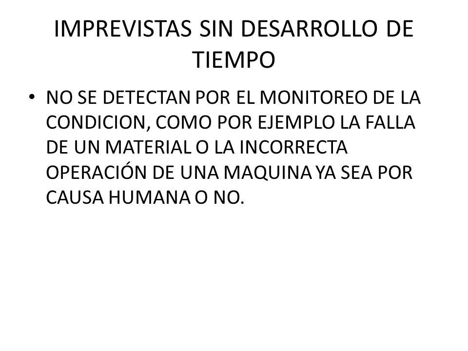 IMPREVISTAS SIN DESARROLLO DE TIEMPO NO SE DETECTAN POR EL MONITOREO DE LA CONDICION, COMO POR EJEMPLO LA FALLA DE UN MATERIAL O LA INCORRECTA OPERACI