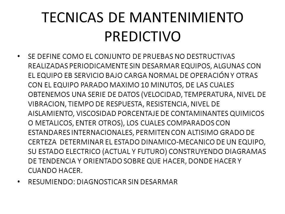 TECNICAS DE MANTENIMIENTO PREDICTIVO SE DEFINE COMO EL CONJUNTO DE PRUEBAS NO DESTRUCTIVAS REALIZADAS PERIODICAMENTE SIN DESARMAR EQUIPOS, ALGUNAS CON