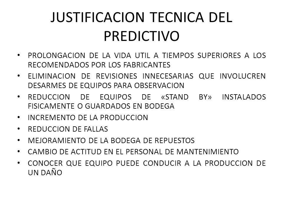 JUSTIFICACION TECNICA DEL PREDICTIVO PROLONGACION DE LA VIDA UTIL A TIEMPOS SUPERIORES A LOS RECOMENDADOS POR LOS FABRICANTES ELIMINACION DE REVISIONES INNECESARIAS QUE INVOLUCREN DESARMES DE EQUIPOS PARA OBSERVACION REDUCCION DE EQUIPOS DE «STAND BY» INSTALADOS FISICAMENTE O GUARDADOS EN BODEGA INCREMENTO DE LA PRODUCCION REDUCCION DE FALLAS MEJORAMIENTO DE LA BODEGA DE REPUESTOS CAMBIO DE ACTITUD EN EL PERSONAL DE MANTENIMIENTO CONOCER QUE EQUIPO PUEDE CONDUCIR A LA PRODUCCION DE UN DAÑO