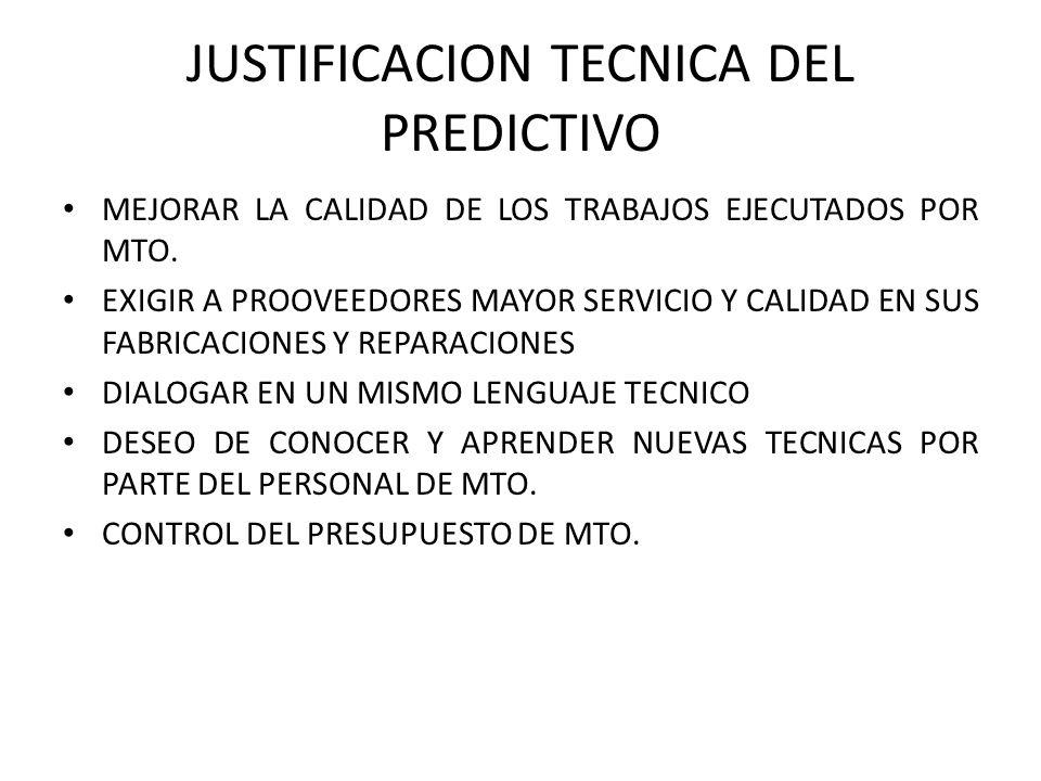 JUSTIFICACION TECNICA DEL PREDICTIVO MEJORAR LA CALIDAD DE LOS TRABAJOS EJECUTADOS POR MTO. EXIGIR A PROOVEEDORES MAYOR SERVICIO Y CALIDAD EN SUS FABR