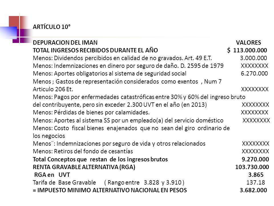 ARTÍCULO 10° DEPURACION DEL IMAN VALORES TOTAL INGRESOS RECIBIDOS DURANTE EL AÑO $ 113.000.000 Menos: Dividendos percibidos en calidad de no gravados.