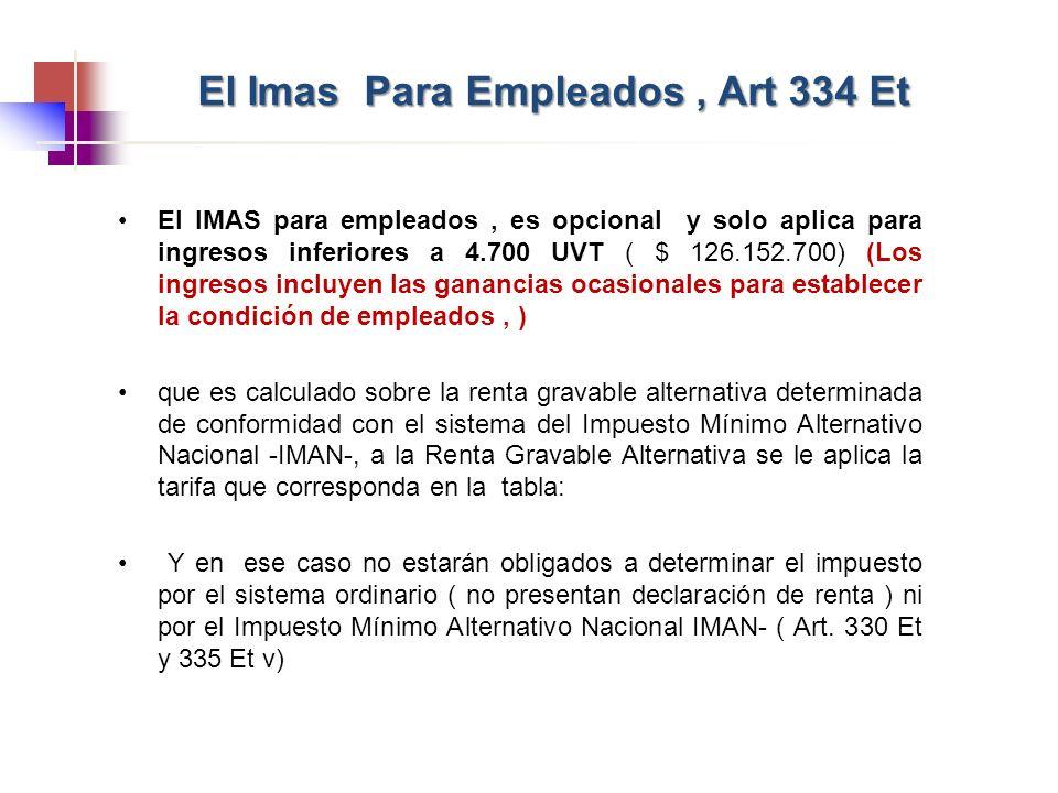 El IMAS para empleados, es opcional y solo aplica para ingresos inferiores a 4.700 UVT ( $ 126.152.700) (Los ingresos incluyen las ganancias ocasional