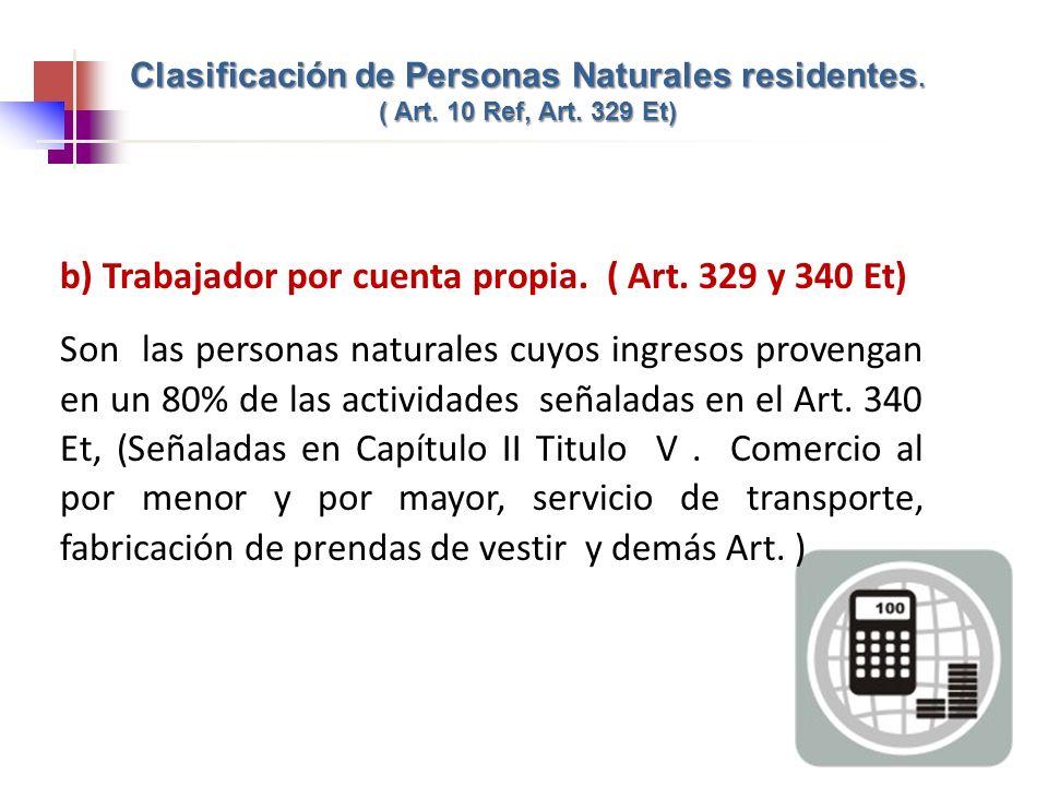 Clasificación de Personas Naturales residentes. ( Art. 10 Ref, Art. 329 Et) b) Trabajador por cuenta propia. ( Art. 329 y 340 Et) Son las personas nat