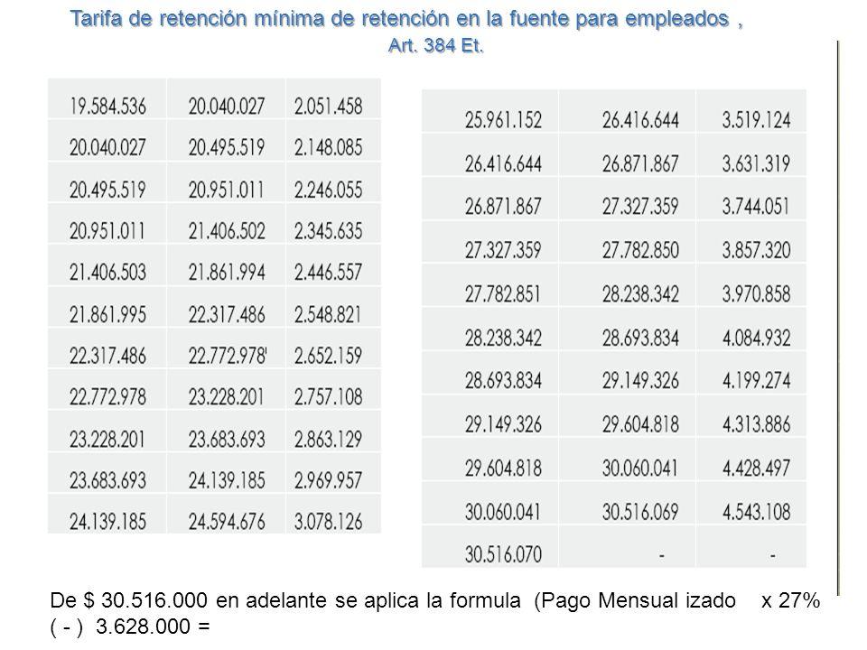 De $ 30.516.000 en adelante se aplica la formula (Pago Mensual izado x 27% ( - ) 3.628.000 = Tarifa de retención mínima de retención en la fuente para empleados, Art.