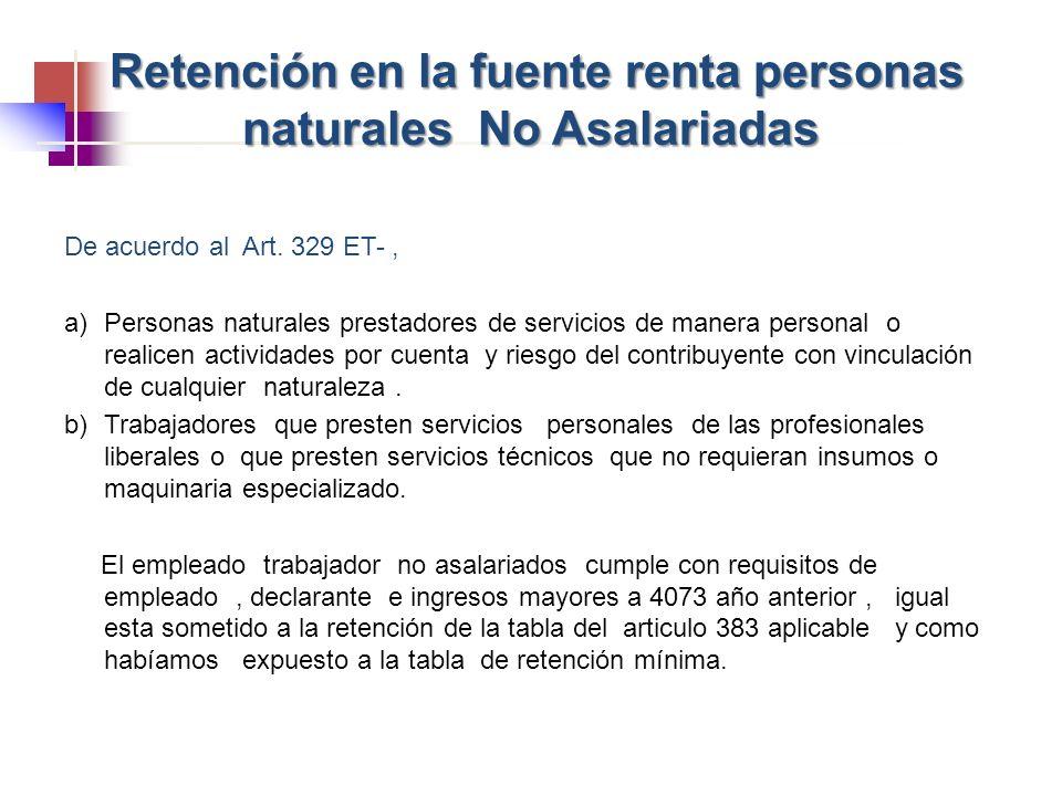 De acuerdo al Art. 329 ET-, a)Personas naturales prestadores de servicios de manera personal o realicen actividades por cuenta y riesgo del contribuye