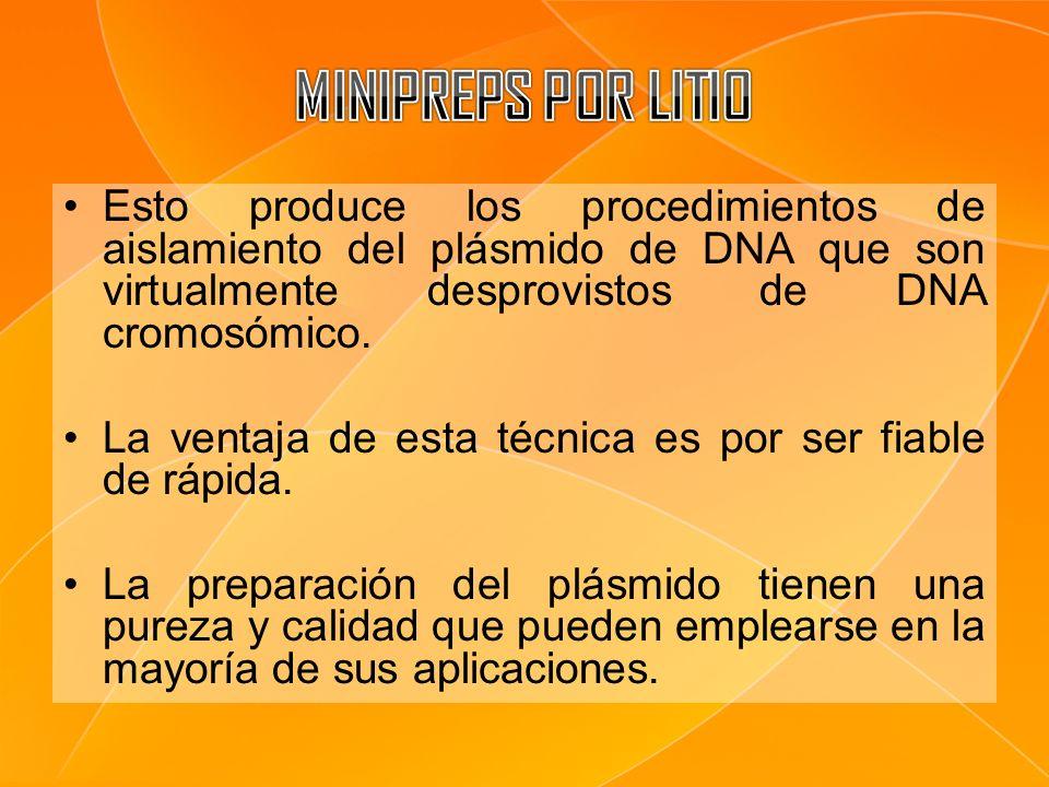 Esto produce los procedimientos de aislamiento del plásmido de DNA que son virtualmente desprovistos de DNA cromosómico. La ventaja de esta técnica es