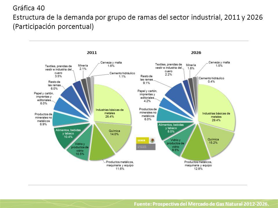 Fuente: Prospectiva del Mercado de Gas Natural 2012-2026. Gráfica 40 Estructura de la demanda por grupo de ramas del sector industrial, 2011 y 2026 (P