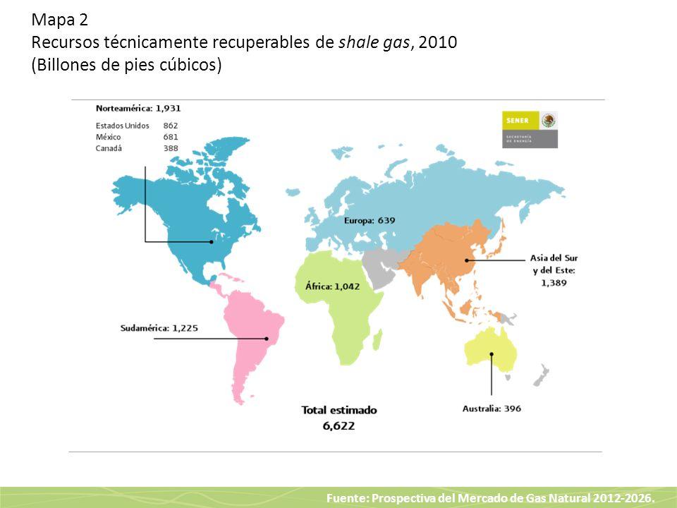 Fuente: Prospectiva del Mercado de Gas Natural 2012-2026. Mapa 2 Recursos técnicamente recuperables de shale gas, 2010 (Billones de pies cúbicos)
