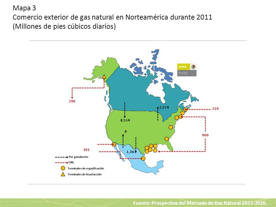 Fuente: Prospectiva del Mercado de Gas Natural 2012-2026. Mapa 3 Comercio exterior de gas natural en Norteamérica durante 2011 (Millones de pies cúbic