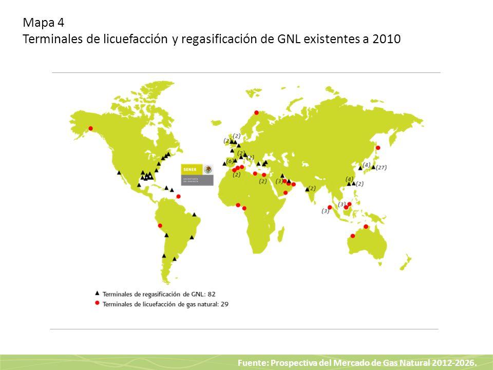 Fuente: Prospectiva del Mercado de Gas Natural 2012-2026. Mapa 4 Terminales de licuefacción y regasificación de GNL existentes a 2010